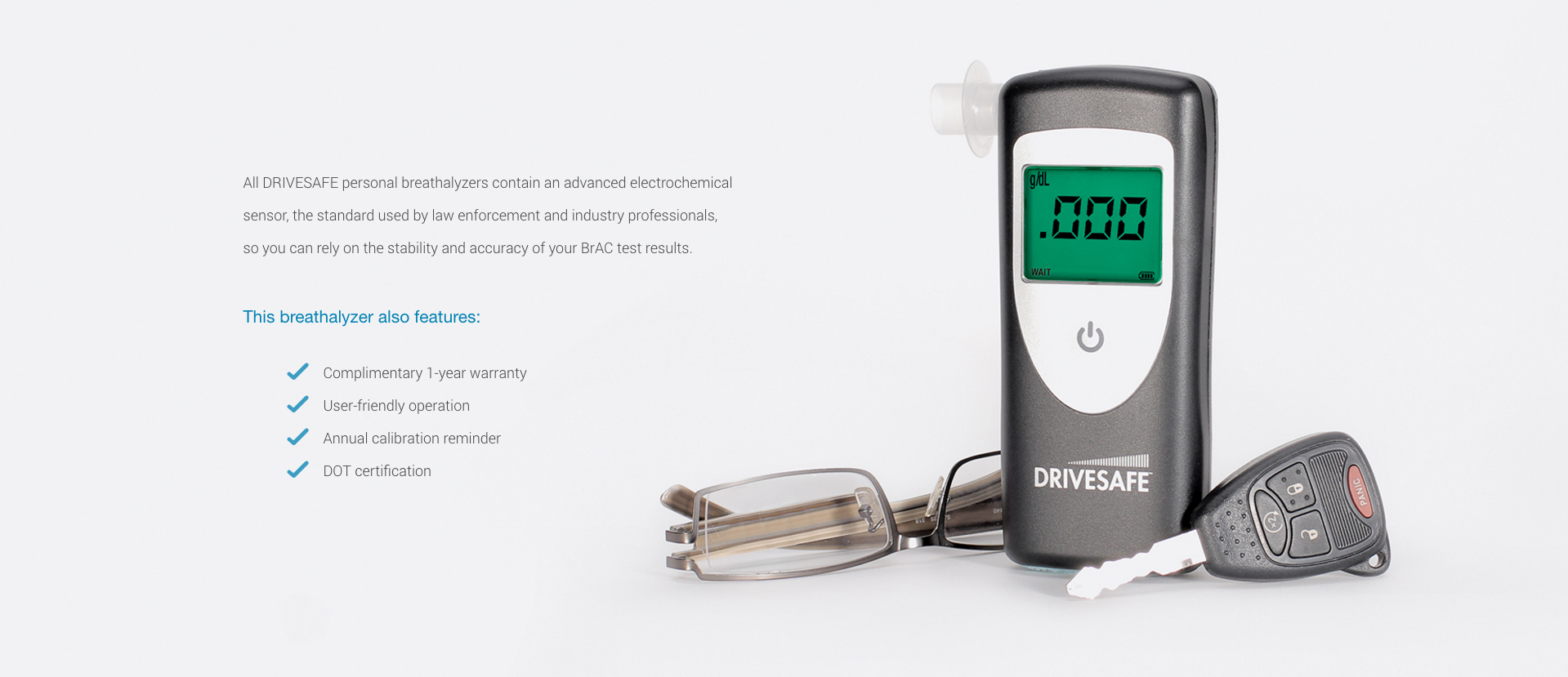 DRIVESAFE exec breathalyzer features